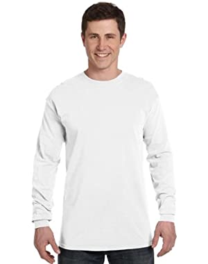Ringspun Garment-Dyed Long-Sleeve T-Shirt (C6014)- WHITE, S