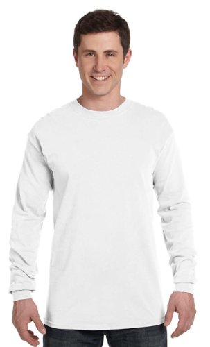 Comfort Colors Ringspun Garment-Dyed Long-Sleeve T-Shirt, Large, WHITE