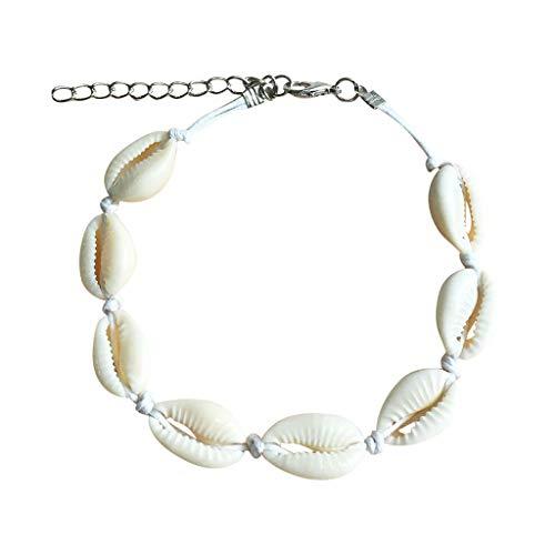 QBQCBB Women Shell Body Foot Chain Seashell Adjustable Pendant Jewelry(White,Freesize)