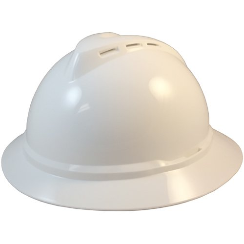 MSA Advance Full Brim Vented Hard Hats with 4 Point Ratchet Suspensions White