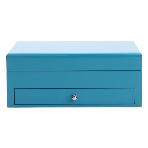 High Gloss Finish Jewelry (Reed & Barton 950BLU High Gloss Finish Jewelry Box, 9-1/2-Inch Length by 6-3/4-Inch Width by 3-3/4-Inch Height, Cool Blue)