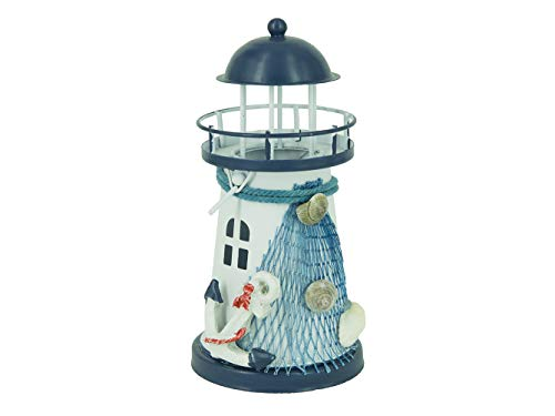 Waroom Home Wooden Lighthouse Decor, 6''H Nautical Themed Rooms Lighthouse Home Decor with Conch Star Fish & Small Fish (Lighthouse-D)