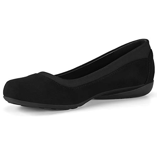 Classic Ballet Shoes for Women Soft Slip-On Loafer Cute Round Toe Flat Shoes Solid Colors Black 8 (Comfort Flat Shoes)
