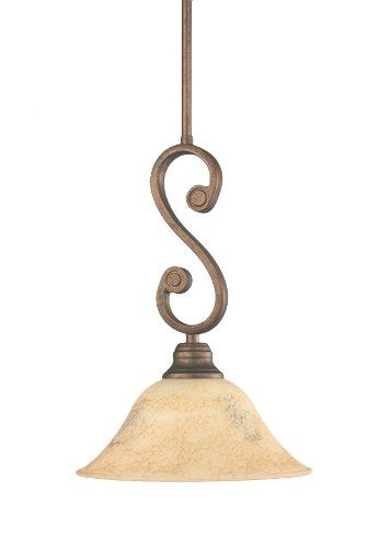 Toltec Lighting 50-BRZ-518 Curl Mini-Pendant Light Bronze Finish with Italian Marble Glass, 10-Inch