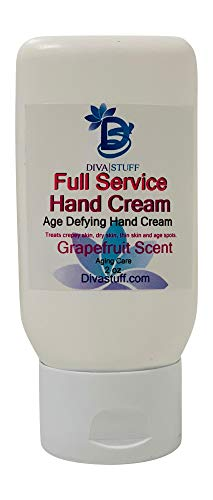 Full Service Age Defying Hand Cream, For Crepey Skin, Age Spots, Thinning Skin and Dry Skin, Grapefruit Scent By Diva Stuff