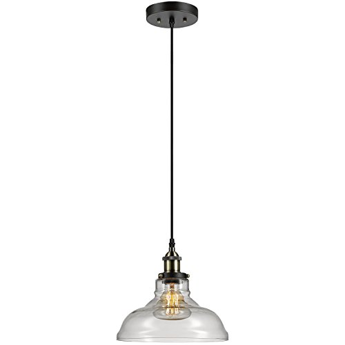 Globe Electric Latiya 1-Light Hanging Pendant, Bronze Finish, Antique Brass Decorative Socket, Clear Glass Shade, Black Fabric Cord, 1x E26 60W Bulb (Sold Separately), 65587