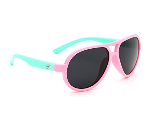 TIJN Kids Super Flex Rubber Polarized Aviator Sunglasses for Girls Toddler (Pink Frame/Mint - Name Brand Eyeglasses Top
