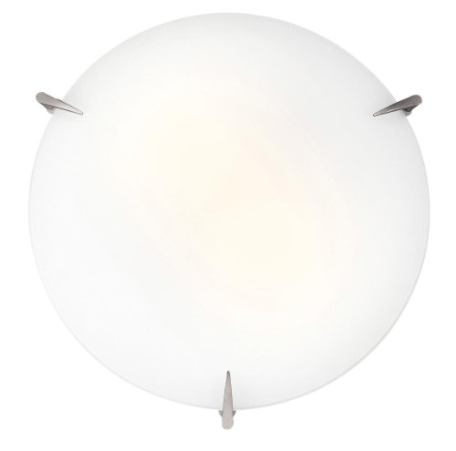 Zenon – 12″dia Flush Mount – Brushed Steel Finish – Opal Glass Shade
