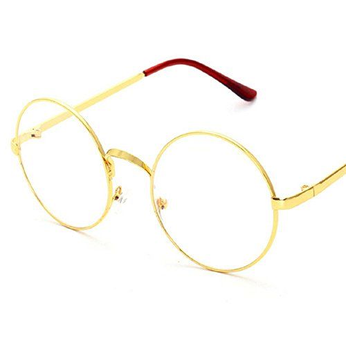 Round Glasses Costumes (Stuffwholesale Metal Frame Clear Lens Round Circle Eye Glasses 5.42inch (Gold)