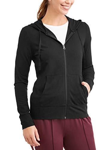 Cotton Terry Hoodie - Athletic Works Women's Athleisure French Terry Full Zip Hoodie, Black, Large