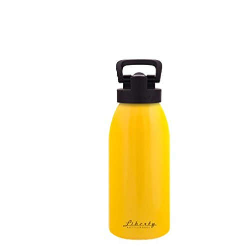 Liberty Bottleworks Straight Up Aluminum Water Bottle, Made in USA, 16oz, Saffron, Sport Cap (Mug Saffron)