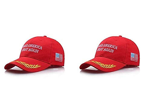 Amazing for Less Make America Great Again Hat [2 Pack], Donald Trump USA MAGA Cap Adjustable Baseball Hat (Bundle Pack: Red 6 and Red 6)