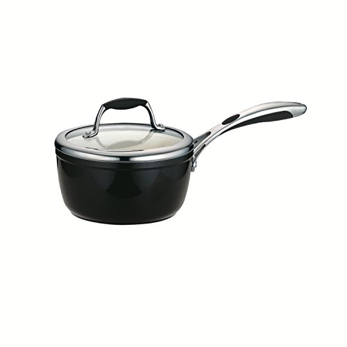 Tramontina 80110/024DS Gourmet Ceramica Deluxe Covered Sauce Pan, PFOA- PTFE- Lead and Cadmium-Free Ceramic Interior, 1.5-Quart, Metallic Black, Made in Italy