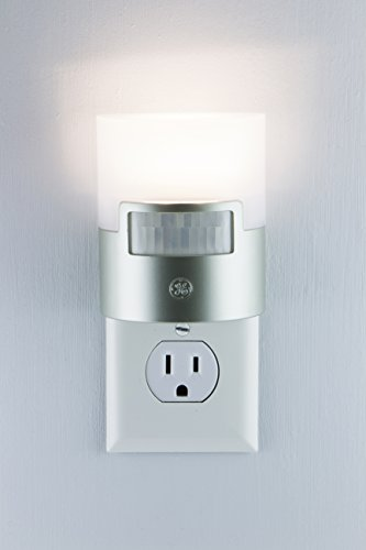 GE Ultra Brite Motion-Activated LED, 40 Lumens, Soft White, Night Light, Energy Efficient, Ideal for Hallway, Stairs, Kitchen, Garage, Utility, Laundry Room, Silver, 29844