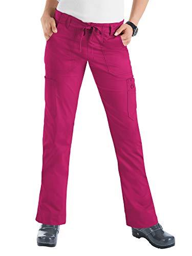 Skinny Pants Shoes - Koi Women's Skinny Stretch Petite Lindsey Mid-Rise Drawstring Waist Cargo Scrub Pant - Large Petite - Lipstick