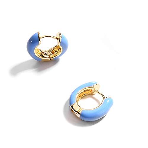 Enamel Huggie Earrings - Gold Plated Huggie Earrings, Blue Enamel Small Hoop Earrings Gift for Women Girls