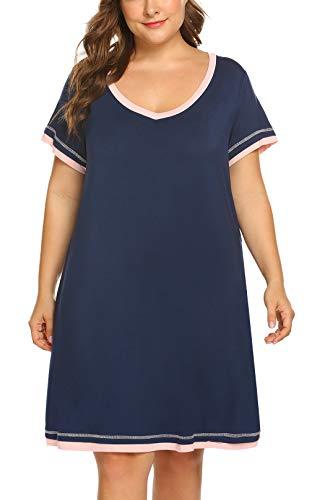 IN'VOLAND Plus Size Nightgown for Women V Neck Short Sleeve Nightshirt Cotton Knit Sleepwear - Plus Size Nightshirts Womens