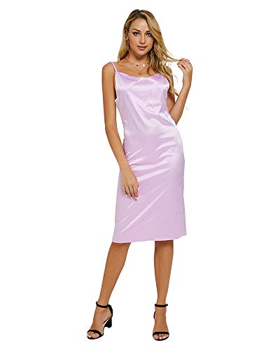 Moxeay Womens Cowl Neck Backless Spaghetti Strap Cocktail Bodycon Midi Dress (S, Purple)