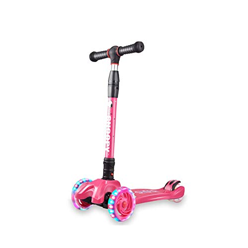 8haowenju Scooter, One-Second Folding Lift Flash Four-Wheel Scooter, Pink/Blue, Best Gift Latest Models (Color : Pink)