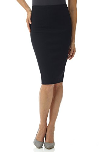 Rekucci Women's Ease in to Comfort Pull-On Knit High Waist Midi Pencil Skirt (X-Small,Black)