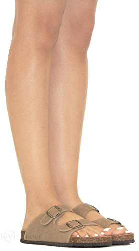 Taupe SandalslComfort Women's b32 Flat Toe MVE Strappy Open Summer Cork Shoes SlidelFlipFlop HpaFpnYqxv