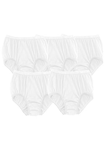Comfort Choice Women's Plus Size 5-Pack Pure Cotton Full-Cut Brief - White Pack, 7