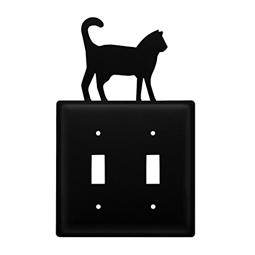 Metal Light Switchplate Cover - Iron Cat Double Switch Cover - Black Metal