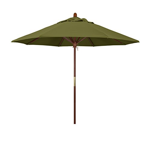 California Umbrella 9' Round Hardwood Frame Market Umbrella, Stainless Steel Hardware, Push Open, Pacifica Palm