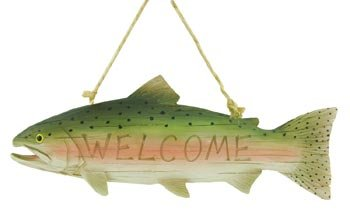 Trout Fish Welcome Sign, 10.5inch (Carved Wood Look) (Trout Wood)