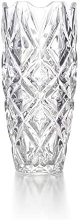 Ekirlin Glass Vases,11.6 inch Transparent Glass Flowers Vases for Bookshelf,Dinner Table,Indoor Office Desktop,Meeting Room,Bathroom,Countertop,Home Christmas Day Decoration