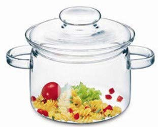 (Simax Glassware 2 Quart Glass Pot | With Lid, Heat Resistant Handles, Doubles as Serving Dish, Made from Oven, Microwave, Stove and Dishwasher Safe Borosilicate Glass)