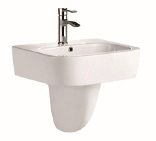 550 Semi Pedestal White Ceramic Modern Design Wall Hung Half Pedestal Basin - Bathroom Sink C CERAMICS