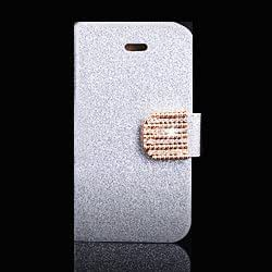New 2014 Hot Luxury Bling Diamond Flip Leather Case Pu Skin Plating Cover Wallet Card Design For Samsung Galaxy S4 Siv I9500 Silver-Silver