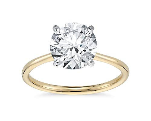 Parade of Jewels 14K Solid Yellow Gold 2.0 Carat Solitaire CZ Engagement Ring, Size 6
