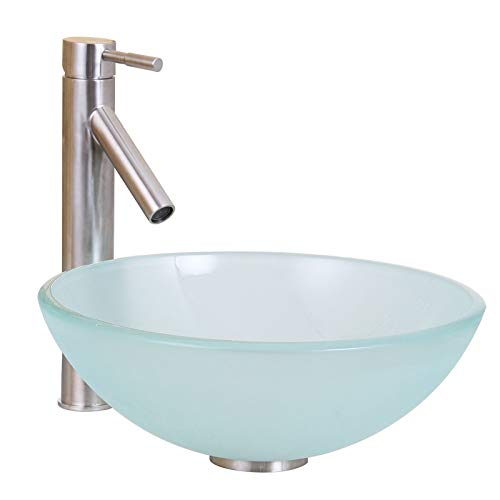 ELITE Bathroom 14 Frosted Glass Vessel Sink Brushed Nickel Single Lever Faucet Combo
