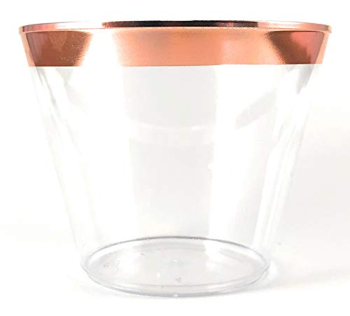 Rimmed Plastic Cups ~ 9 oz Clear Plastic Cups Old Fashioned Tumblers ~ Disposable Wedding Cups ~ Fantastic Party Cups With Gold Rim (Rose Gold) ()