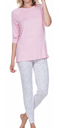 Honeydew 2 Piece Pajama Set - Light Pink Top and Gray Leopard Pants (M)