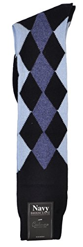 Pure Cashmere Argyle Harlequin-Diamond Over-the-Calf Socks - One Pair Navy Medium