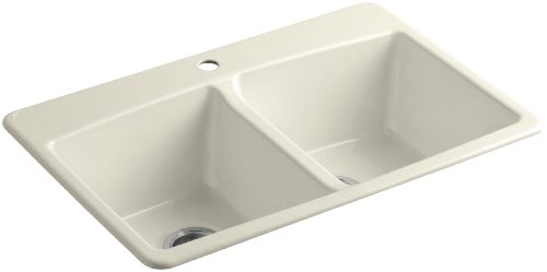 - KOHLER K-5846-1-47 Brookfield Top-Mount Double-Equal Bowl Kitchen Sink with Single Faucet Hole, Almond