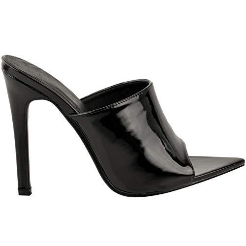 Sandales Haut À Fête Fines Femme aiguille Noir Enfiler Talon Verni q6Bw4xnU1q