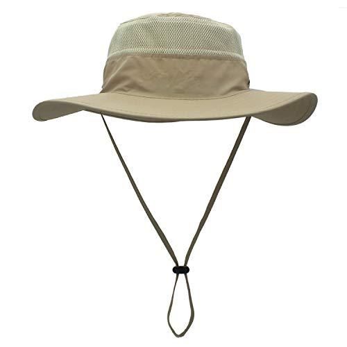 Duakrs Unisex Wide Brim Sun Hat,Outdoor UPF 50+ Waterproof Boonie Hat Summer UV Protection Sun Caps (Beige)