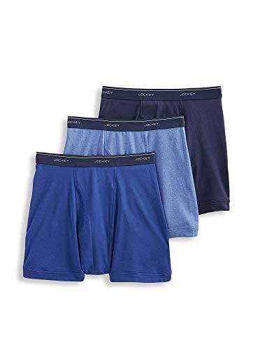 Jockey Men's Underwear Classic Boxer Brief - 3 Pack, Riverrock Blue/Space Blue/Cool Waters Heather, ()