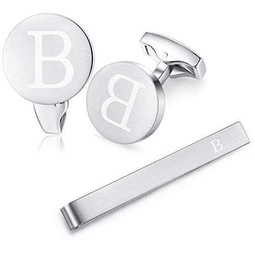 HONEY BEAR Initial Alphabet Letter Cufflinks Tie Clip Set for Mens Wedding Gift B Silver
