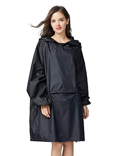 Unisex Pongee Rain Poncho Emergency Waterproof Breathable for Adults Tall Big Rain Coats Jacket Rainproof Jacket for Ladies Portable Raincoat Outdoor with Zipper Hooded Bike Rainwear Black