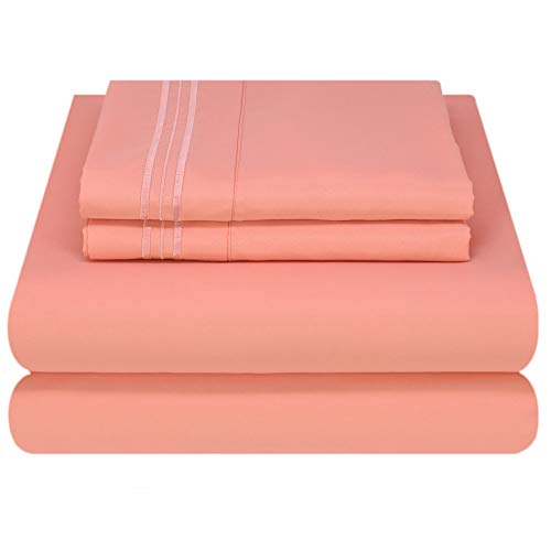 (Mezzati Luxury Bed Sheet Set - Soft and Comfortable 1800 Prestige Collection - Brushed Microfiber Bedding (Coral Rose, Cal King)
