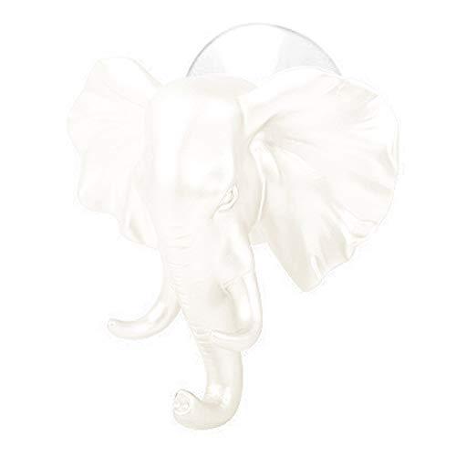 Yu2d  Lovely Elephant Head Self Adhesive Wall Door Hook Hanger Bag Keys Sticky Holder (White) -