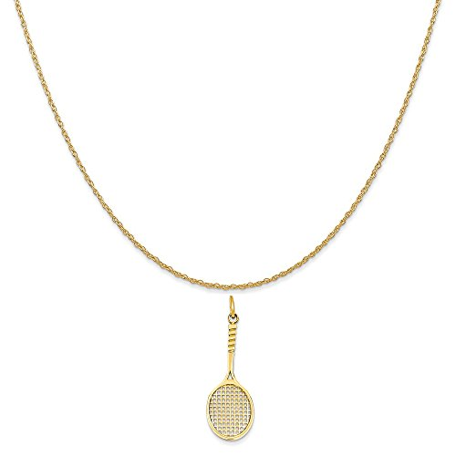 (Mireval 14k Yellow Gold Tennis Racquet Charm on a 14K Yellow Gold Rope Chain Necklace, 20