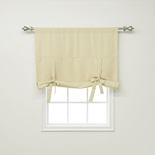 best home fashion thermal insulated blackout tie up window shade rod pocket beige 42w x 63l 1 panel - Bathroom Window Treatments