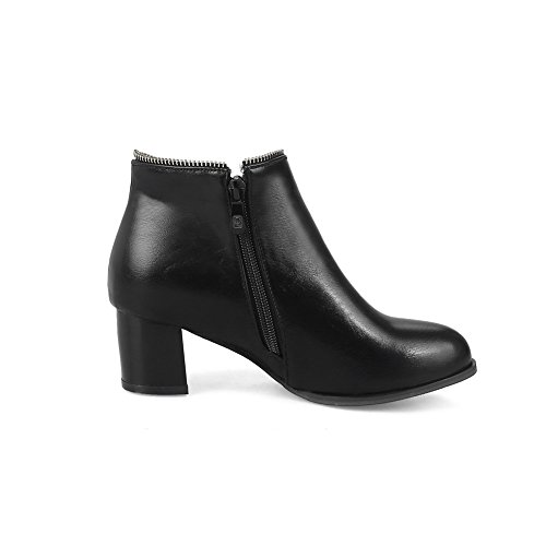 1TO9 Womens Boots Low-Top Zip Warm Lining Outdoor Light-Weight Bootie Smooth Leather Urethane Boots MNS02392 Black bHjlm27B6X