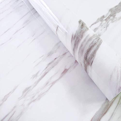 Urban Décor Modern Wallpaper, Vinyl Peel-and-Stick Wall Décor (2' x 8' (2 pcs, 32 sqft), White Marble)